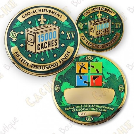 Geo Achievement® 15 000 Finds - Coin + Pin