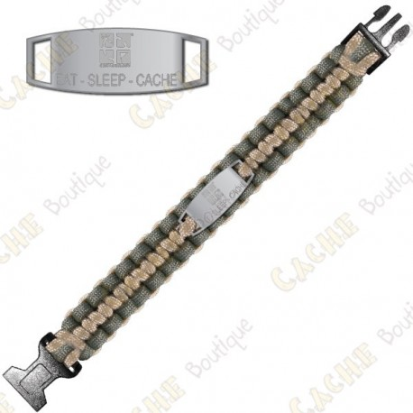 Bracelete Paracord - Eat Sleep Cache - Khaki / Bege