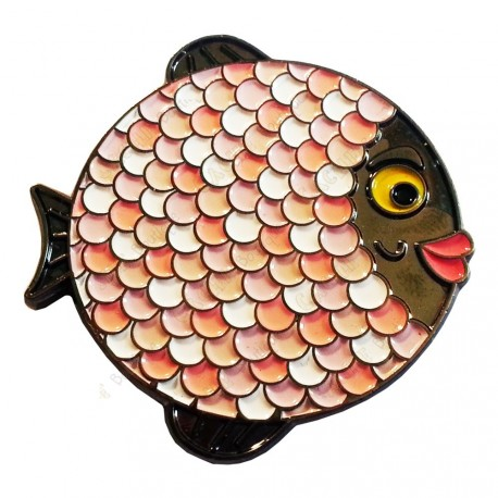 """Geocoin """"Rainbow Fish"""" - Light on Black Black Nickel LE"""