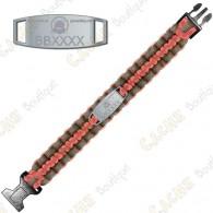 Bracelete Paracord Trackable - Brugse Beer V - Laranja-vermelho / Cinza