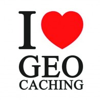 "Sticker vinil ""I love Geocaching"" - 5 x 5 cm"