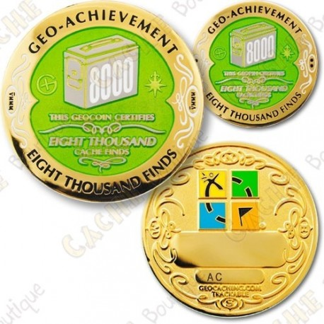 Geo Achievement 8000 Finds - Coin + Pin