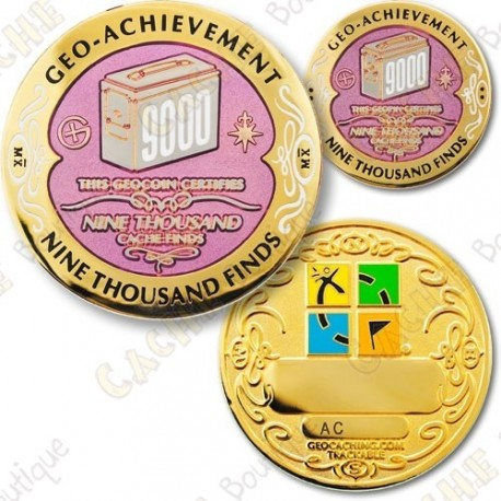 Geo Achievement 9000 Finds - Coin + Pin