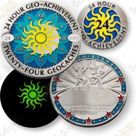 Geo Achievement® 24 Hours 24 Caches - Coin + Pin's
