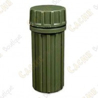 Green plastic tube with cap. Resistant and waterproof.