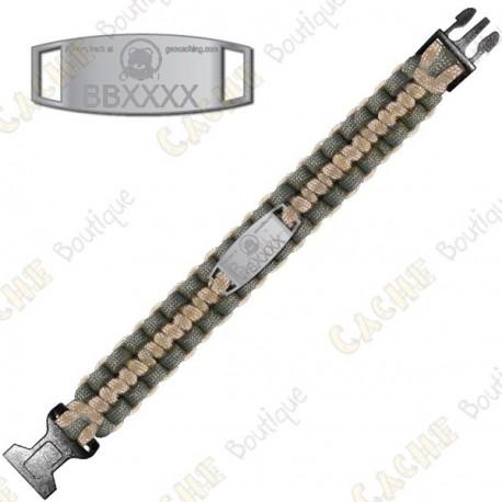 Trackable Paracord Bracelet - Brugse Beer IV - Khaki / Beige