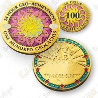 Geo Achievement® 24 Hours 100 Caches - Coin + Pin