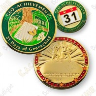 Geo Achievement® 31 Days of Geocaching - Coin + Pin's