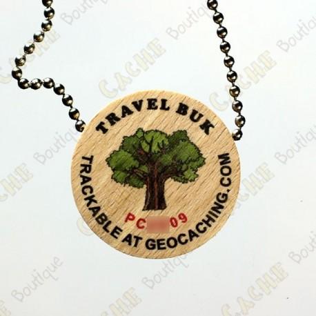Travel Buk - Wooden geocoin