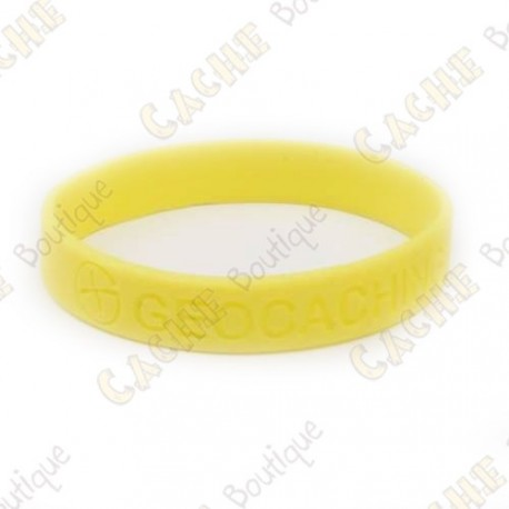 Silicone wristband - Geocaching, this is our world - Yellow