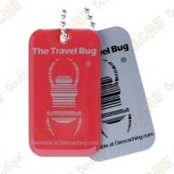 Travel bug oficial Groundspeak com QR code.