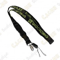 Groundspeak official lanyard - Black / Green