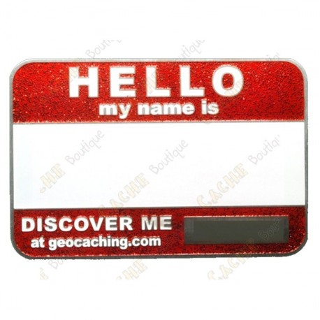 Name tag trackable - Red glitter