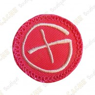 Geocaching round patch - Pink / White