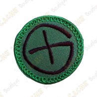 Geocaching round patch - Green / Black