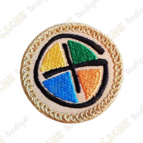 Geocaching round patch - Quadricolor / Beige