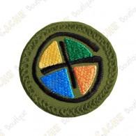 Geocaching round patch - Quadricolor / Khaki