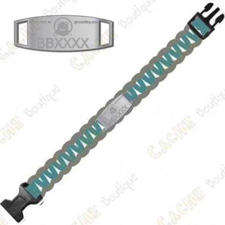 Bracelet Paracorde Trackable - Brugse Beer VI - Turquoise / Gris - Prévente