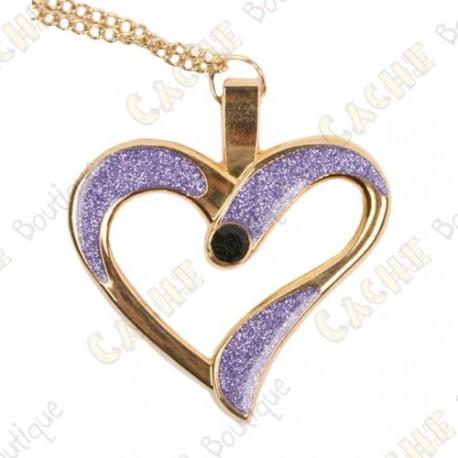"Geocoin Necklace ""Eternal Love"" - Purple / Gold"