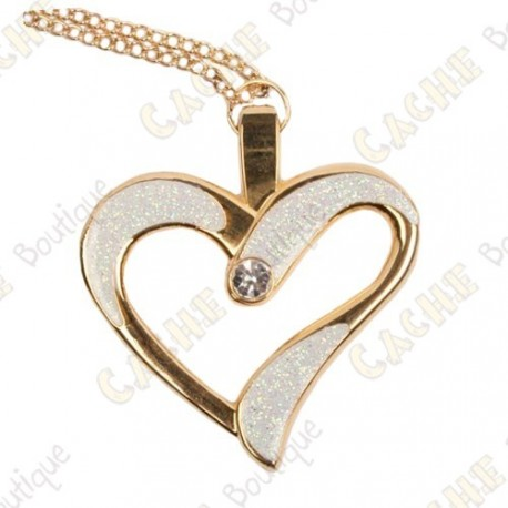 "Geocoin Collar ""Eternal Love"" - Blanco / Oro"