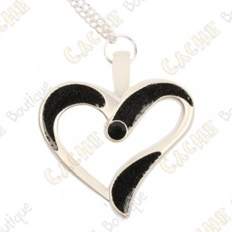 "Geocoin Necklace ""Eternal Love"" - Black / Satin silver"