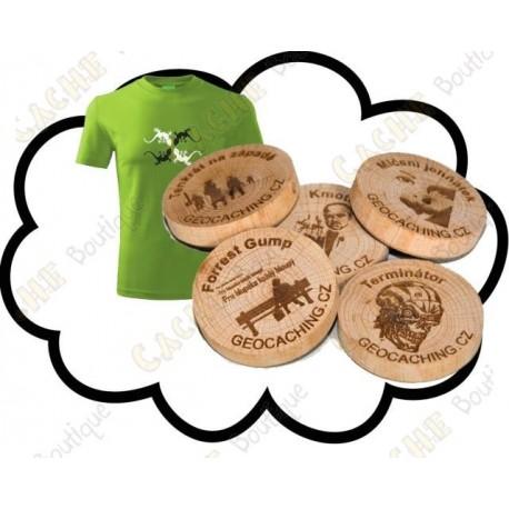 T-shirt + Custom Wood coins x 50
