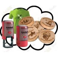 Camiseta + Carimbo + Wood coins personalizados x 50