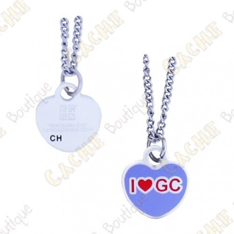 "Geocoin Necklace ""I love GC"""