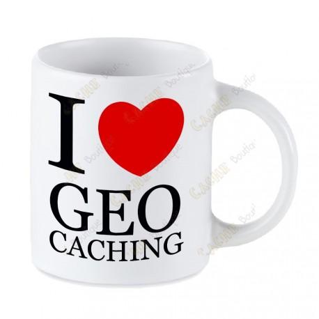Geocaching white mug - I love Geocaching