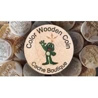 Wood coins Cor personalizados x 50