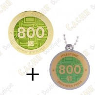 "Geocoin + Travel Tag ""Milestone"" - 800 Finds"