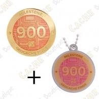 "Geocoin + Traveler ""Milestone"" - 900 Finds"