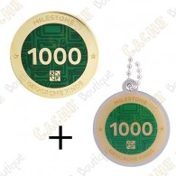 "Geocoin + Travel Tag ""Milestone"" - 1000 Finds"