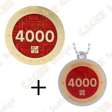 "Geocoin + Travel Tag ""Milestone"" - 4000 Finds"