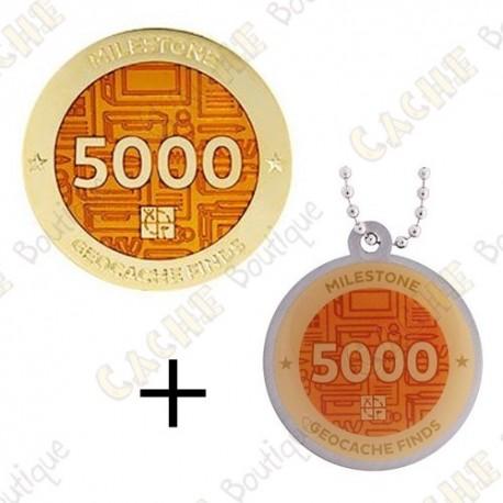 "Geocoin + Travel Tag ""Milestone"" - 5000 Finds"