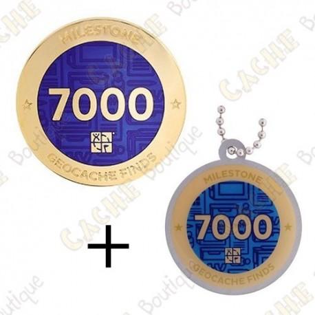 "Geocoin + Travel Tag ""Milestone"" - 7000 Finds"