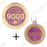 "Geocoin + Travel Tag ""Milestone"" - 9000 Finds"